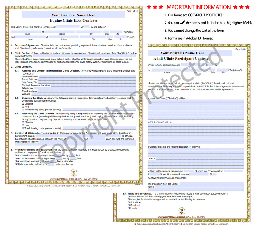 Equine Legal Solutions  WhatS In Our Equine Clinic Forms Package